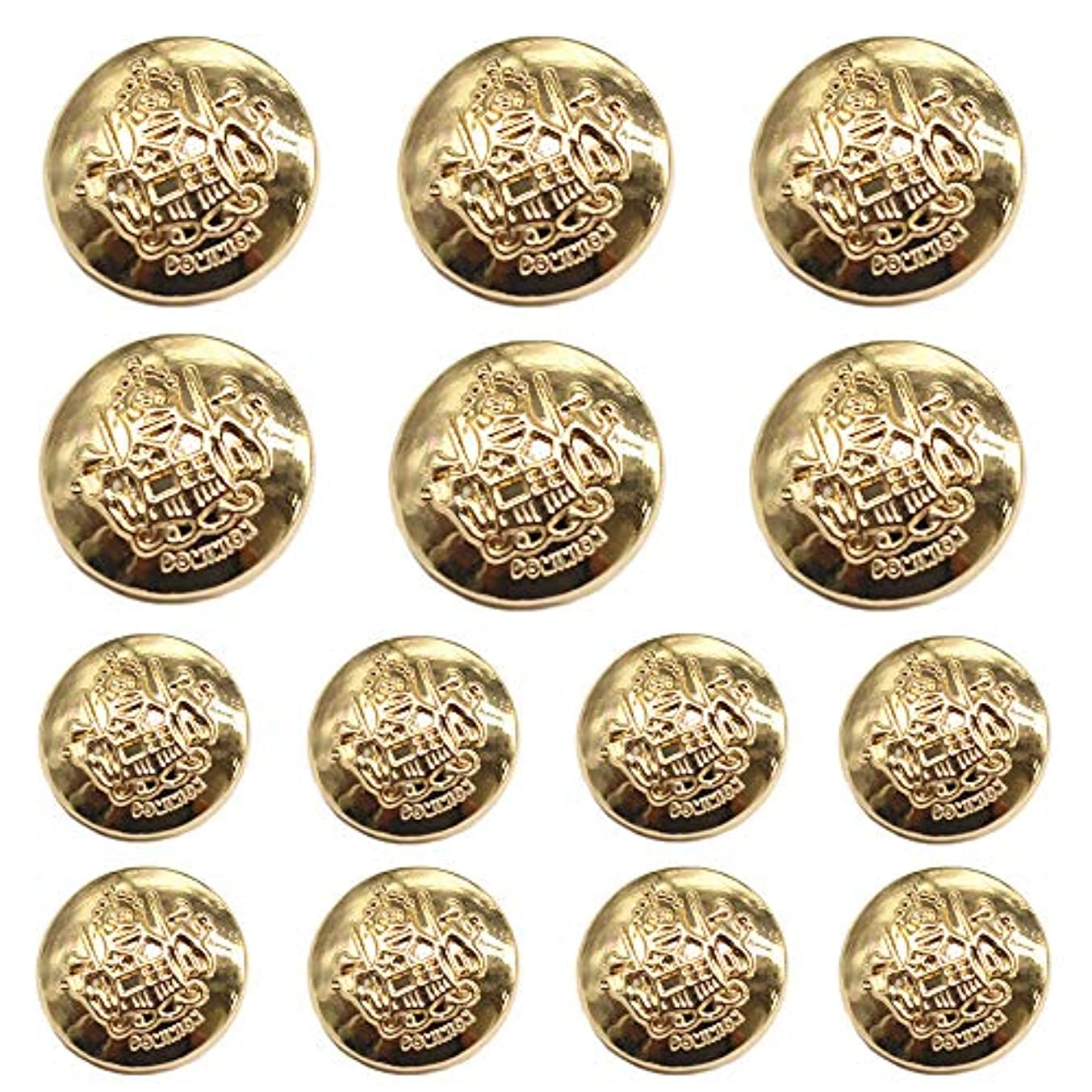 YaHoGa 14pcs Gold Blazer Buttons for Suits Blazers Sport Coats 20mm 15mm Metal Shank Blazer Buttons Set for Sewing Coats Suits Blazers (MB20100)