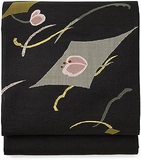 (ソウビエン) 袋帯 未仕立て 黒 ブラック 流水 花 綴織 正絹 お太鼓柄 カジュアル 夏向き 女性用 レディース