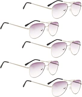 READING GLASSES 5 pack Pilot Style Small Frame Include Sunshine Readers