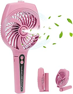 Handheld Misting Fan,Strong wind and Cooling Fan, Mini Portable Humidifier fan fold able, USB powered /2600mA high-power battery, multi-functional design for outdoor & watch ball games &Travel etc.