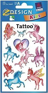 Avery Zweckform 56390 barns tatueringar (temporär överföringsfilm, dermatologiskt testad) 10 mönster enhörningar