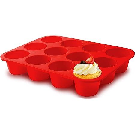 Silicone Jumbo Muffin Pan 12 Cups, European Grade Cupcake Baking Pan - Large Size, Non-Stick Muffin Molds for Baking,Muffin Tray, Food-Grade Muffin Tins, BPA Free