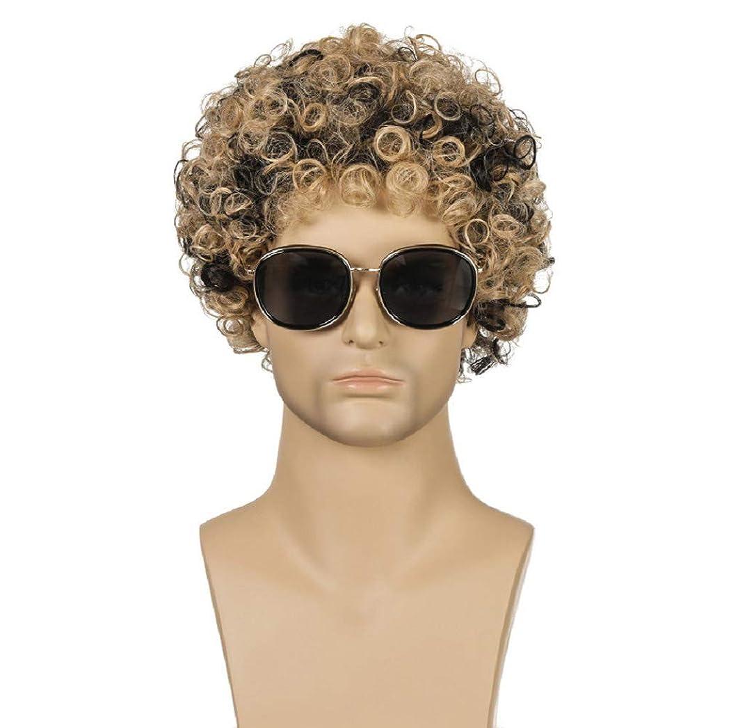交渉するバンガロー新聞ファッション男性かつらブラジル高合成耐熱繊維ショートヘア変態カーリーウィッグ混合色25センチ