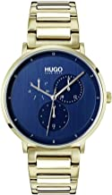 Hugo Men's #Guide - Ultra Slim Quartz Ice Gold IP and Ice Gold Bracelet Casual Watch, Blue, 1530011