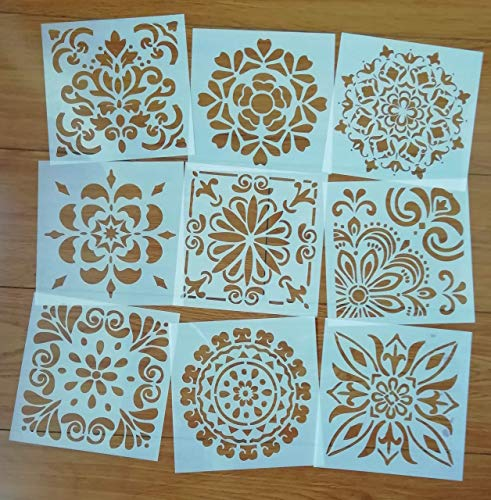Mandala Reusable Stencil Set of 9 (6x6 inch) Painting Stencil, Laser Cut Painting Template for DIY Decor, Painting on Wood, Airbrush, Rocks and Walls Art