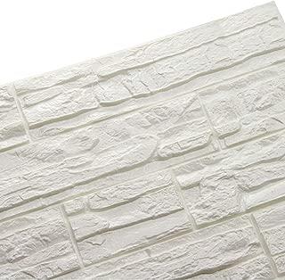 LEISU PE de Espuma de 3D Wallpaper DIY Pegatina de pared Patrón de Ladrillo Papel Pintado Autoadhesivo Paneles Decorativos 60 * 60CM (12pcs, blanco)