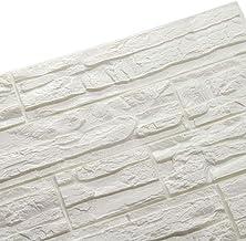 LEISU 3D Ladrillo Pegatina Pared Autoadhesivo Panel Pared Impermeable 3D DIY Wall Stickers Moderno Blanco Decorativo pare Cocina, baño, dormitorio, oficina, fondo TV 60 * 60CM (24pcs, blanco)