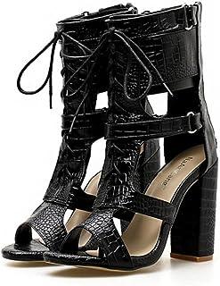 GLJJQMY Women's Shoes Open Toe Sandals Shallow Mouth Shoes Hollow High Heels Work Professional Shoes Court Shoes Black Party 35-40 Yards Women's Sandals (Color : Black, Size : 39 EU)