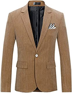 YOUTHUP Mens Slim Fit Blazer Single Breasted 1 Button Formal Suit Jacket Casual Plaid/Stripes Smart Blazer
