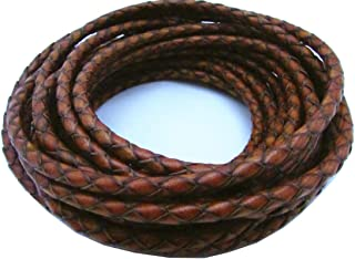 5.0mm 5meters Round Folded Bolo Braided PU Leather Cords for Necklace Bracelet Jewelry Making(About 5.5yards (Reddish Brown, 5 Meters)