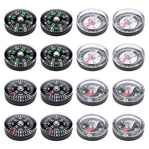 Wei Shang Lot de 16 petites boussoles à bouton pour camping, randonnée, voyage 20 mm