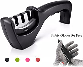 Julitech Kitchen Knife Sharpener 3-Stage Knife Sharpening Tool Helps Repair, Restore And Polish Blades Non-Slip Base, Cut-Resistant Glove Included,Black