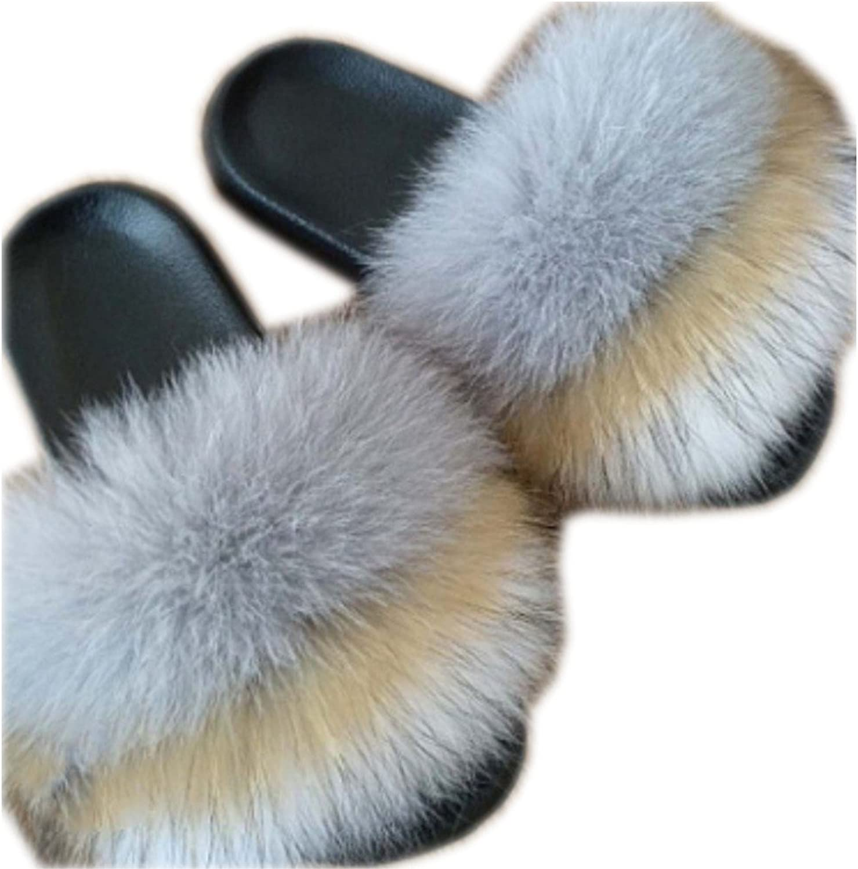 Qmfur Women's Flip Flop Fox Fur Soft Slide Flat Slipper
