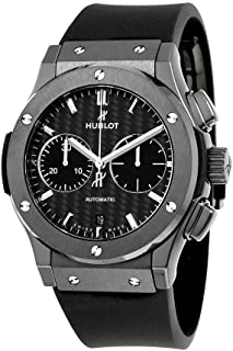 Hublot Classic Fusion Automatic Chronograph Black Magic Matt Carbon Fiber Dial Black Rubber Mens Watch 521.CM.1771.RX