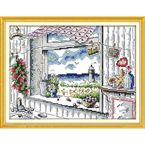 Eeuwige liefde de scène uit het raam Chinese kruis steek Kits ecologisch katoen gestempeld 11CT DIY decoraties voor thuis