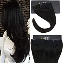 Sunny 20 Inch Hidden Invisible Wire Black Human Hair One Piece Extensions #1B Natural Black Secret Miracle Wire Halo Human Hair Extensions For Women 100g