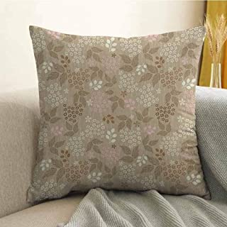FreeKite Floral Bedding Soft Pillowcase Vintage Leaves Daisy Silhouettes Ornate Environment Elements Romantic Pattern Hypoallergenic Pillowcase W16 x L24 Inch Tan Pink Cream