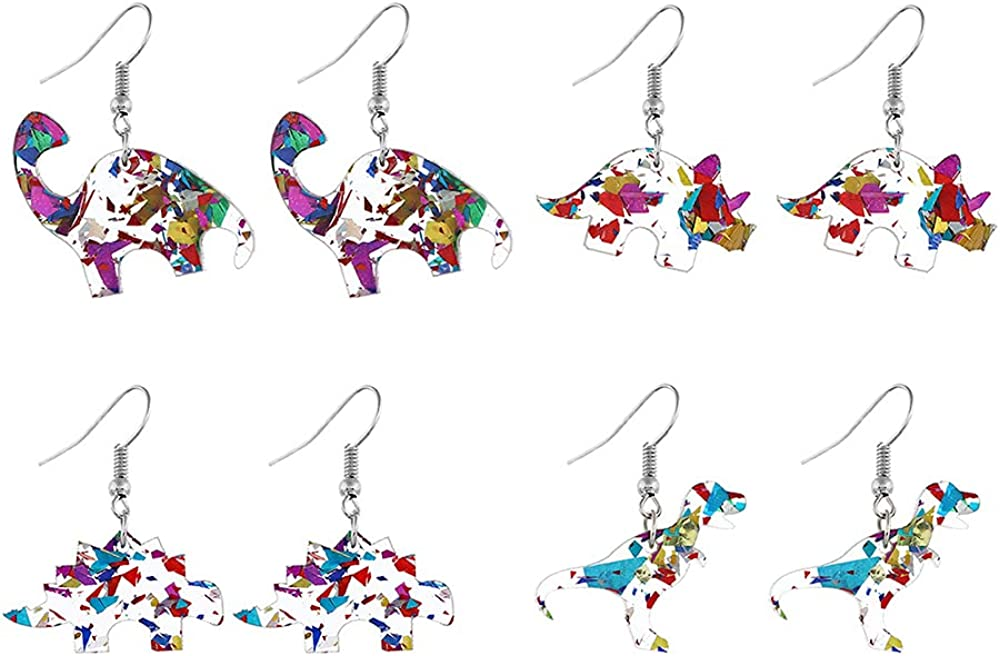 Cute Dinosaur Dangle Earrings for Women Teen Girls Acrylic Resin Animal Charms Drop Hook Stud Earring Lightweight Fashion Holiday Birthday Y2K Jewelry Gifts for Daughter Niece 4 Pairs