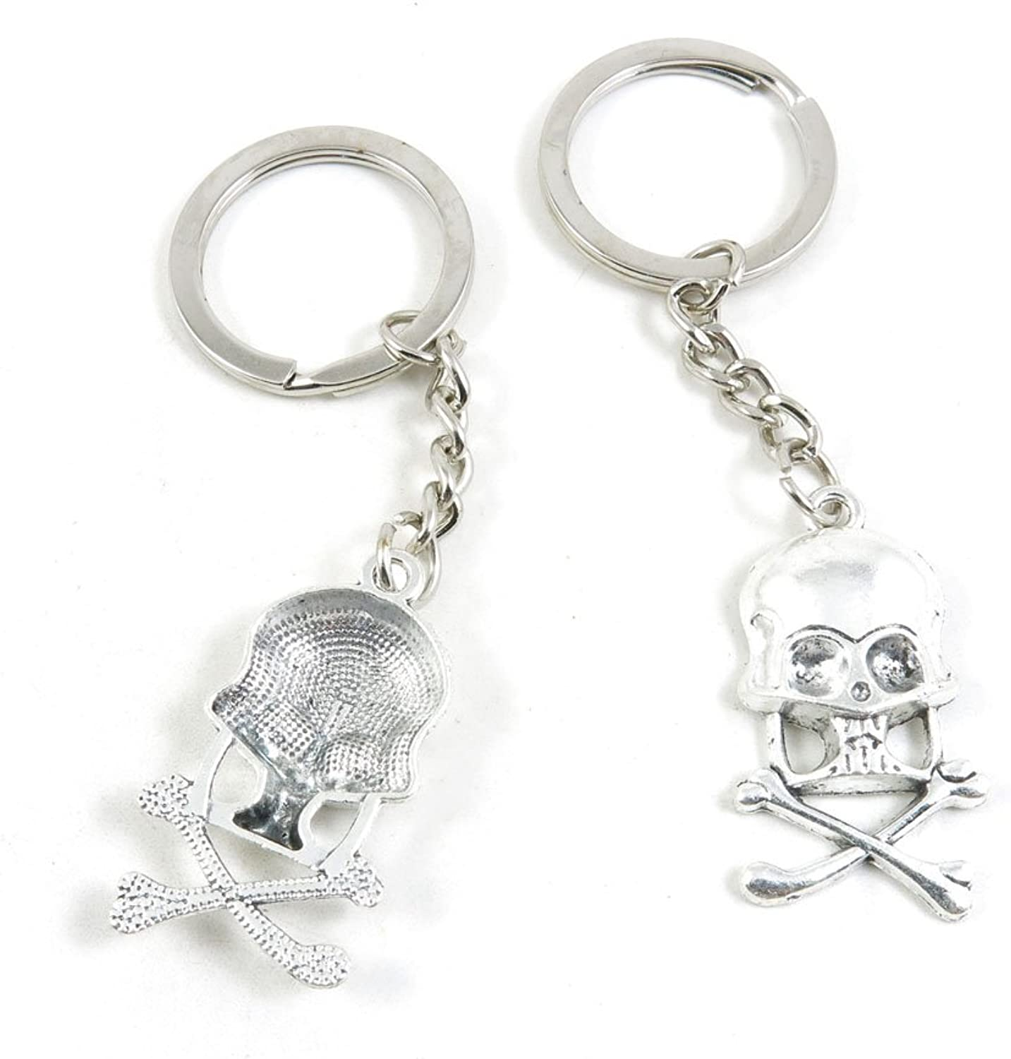 100 Pieces Keychain Keyring Door Car Key Chain Ring Tag Charms Bulk Supply Jewelry Making Clasp Findings J1JS3G Skull