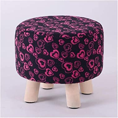 Carl Artbay Wooden Footstool Black Rose Red Heart Pattern Household Solid Wood Stool Fashion Change Shoes Stool Home