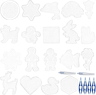 19 Pcs 5mm Fuse Beads Boards, Uspacific 19 Different Shapes of Fuse Beads Pegboards with 6 Pieces Tweezers for Kids Craft Beads