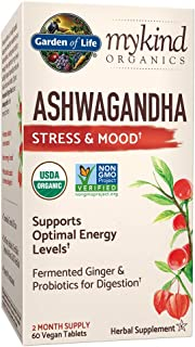 Garden of Life mykind Organics Ashwagandha Stress & Mood 60 Tablets - 600mg Ashwagandha plus Ginger & Probiotics, Supports...