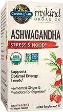 Garden of Life mykind Organics Ashwagandha Stress & Mood 60 Tablets - 600mg Ashwagandha plus Ginger & Probiotics, Supports...
