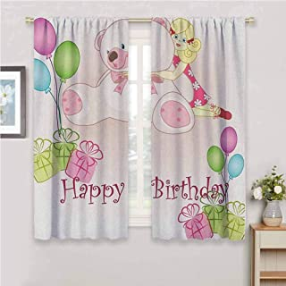 Jinguizi Kids Birthday Curtain Holdback Baby Girl Birthday with Teddy Bears Toys Balloons Surprise Boxes Dolls Image Kitchen Curtain Pale Pink 72 x 72 inch