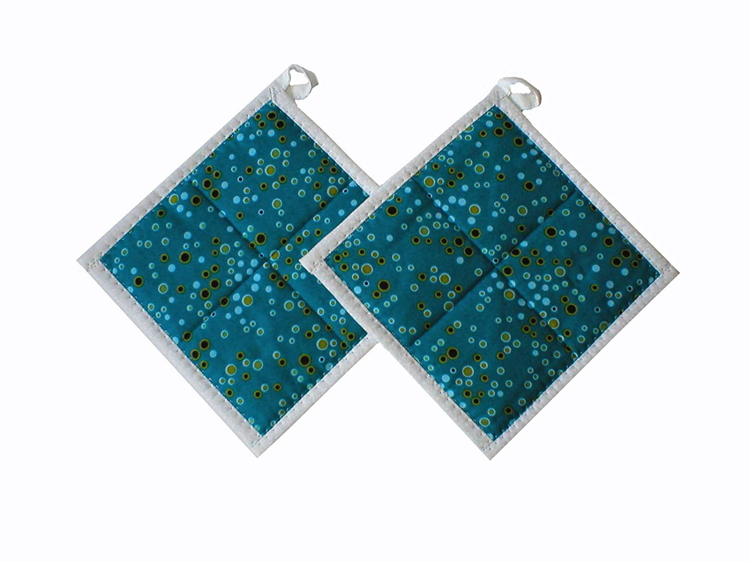 Handmade Hot Pads Reservation Be super welcome Set 2 Blue Bubbles of