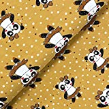 Glünz Jersey Panda Ballerina senf - Stoff - Meterware -