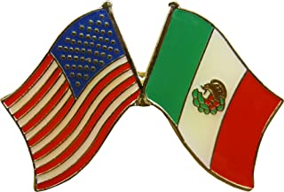 Crossed United States of America & Mexico Flags Enamel Pin