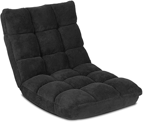 Giantex Floor Folding Gaming Sofa Chair Lounger Folding Adjustable 14 Position Sleeper Bed Couch Recliner Black
