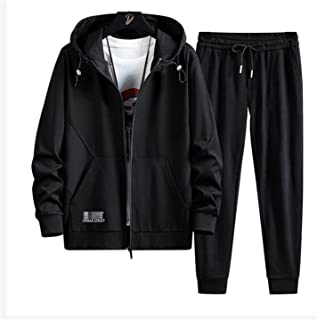 Mens Tracksuits Hooded Zipper Jogging Gym Activewear 2 Piece Set,Men's Sportswear Hooded Gym Hoodie Straight trousers (Col...