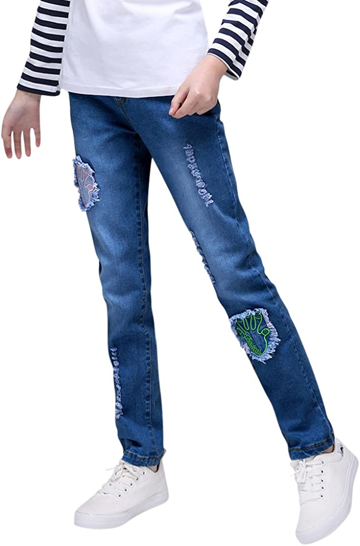 Tortor 1bacha Kid Girls' PAW Elastic Patch Distressed In a popularity Year-end annual account Jeans Wais