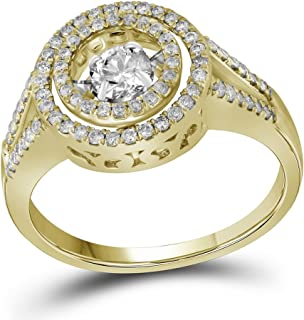 Sonia Jewels 10k Yellow Gold Round Diamond Moving Dancing Rhythm Twinkle Bridal Wedding Band Engagement Ring (5/8 Cttw)