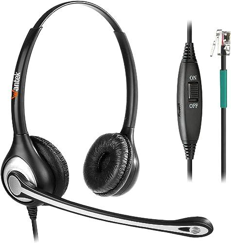Casque Téléphone Fixe Dual RJ9 avec Micro Anti-bruit et Contrôle de Volume, WANTEK Oreillette de Centre d'appel pour ...
