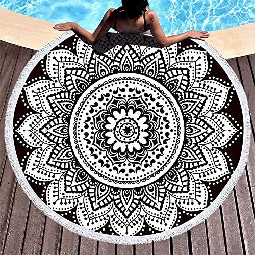 NHhuai Toallas - Microfibra Toalla de Playa Toallas de Acampada Piscina Flor patrón geométrico más Borla Redonda