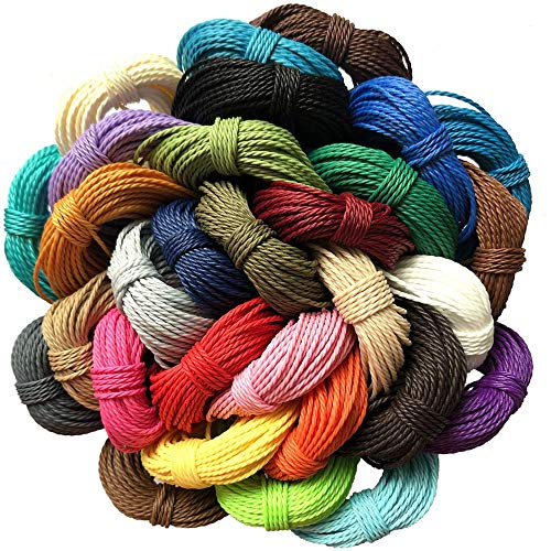 328 Yard 30 Colors 1mm Waxed Polyester Twine Cord Beading Thread Bracelet String Artisan String for Macrame Bracelet Necklace Jewelry Making Craft,10m Each Color