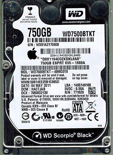 Western Digital wd7500bpkt-40md3t0Mac 750GB DCM: hactjab Apple