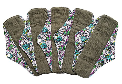 5 Pieces Charcoal Bamboo Mama Cloth/ Menstrual Pads/ Reusable Sanitary Pads (Regular (10 inch),...