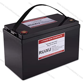 RUIXU LiFePO4 12V 100Ah Lithium Iron Phosphate Battery Pack,Drop-in Lead Acid Battery Replacement,Support Connection In Series with Low Temperature Cut-off Protection
