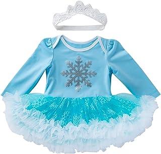 iiniim Baby Mädchen Kleid Strampler EIS Prinzessin Königin Kostüm Langarm Tutu Kleid mit Stirnband Halloween Karneval Geburtstag Party Outfits