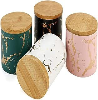 Annfly Lot de 4 boîtes de rangement hermétiques en céramique pour thé, miel, graines, café