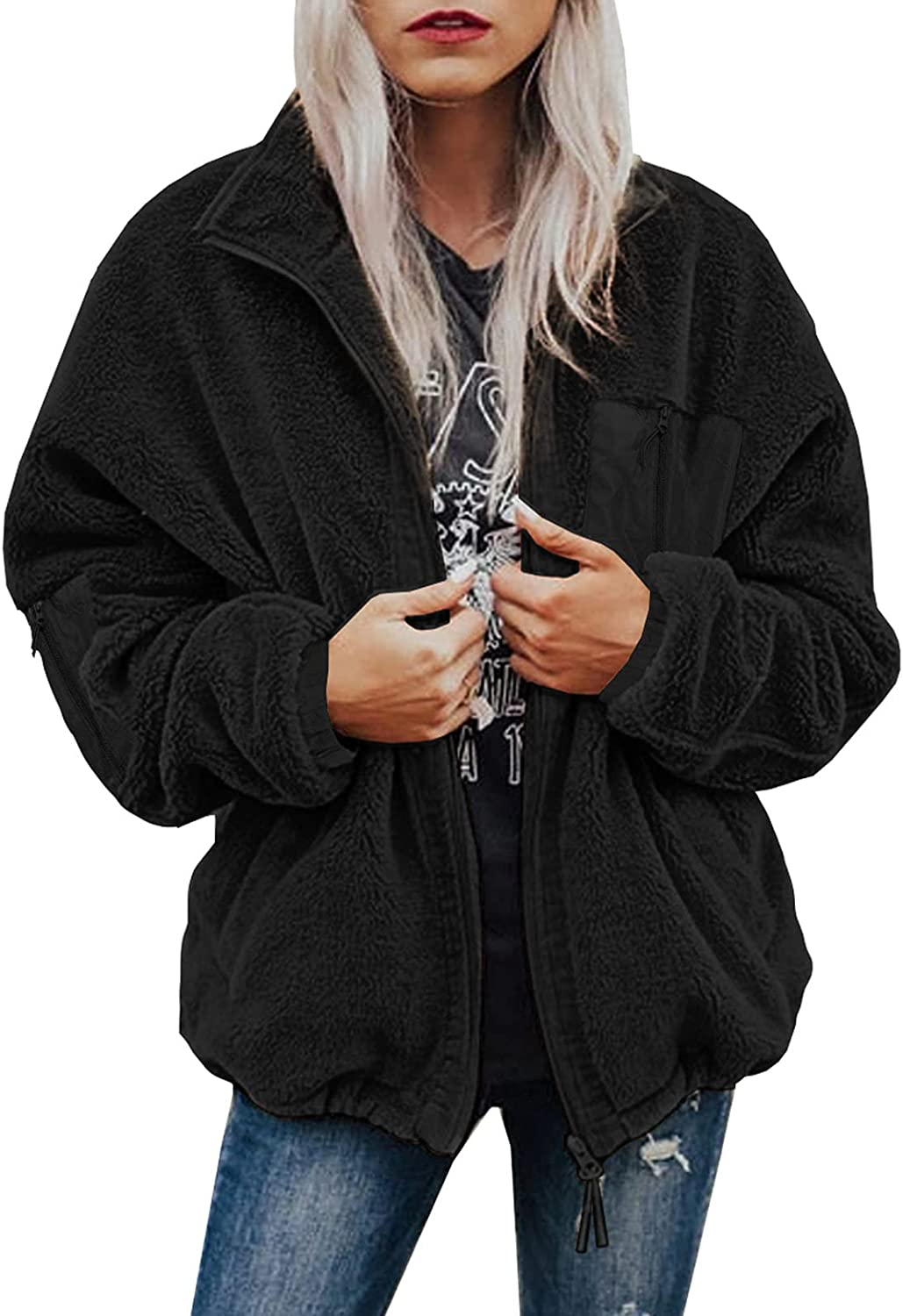 Ecrocoo Womens Casual Winter Zip Up Fleece Jackets Fuzzy Faux Shearling Shaggy Coats Outerwear with Pockets