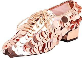 Cambridge Select Women's Oversized Sequin Paillette Lace-Up Chunky Block Low Heel Oxford