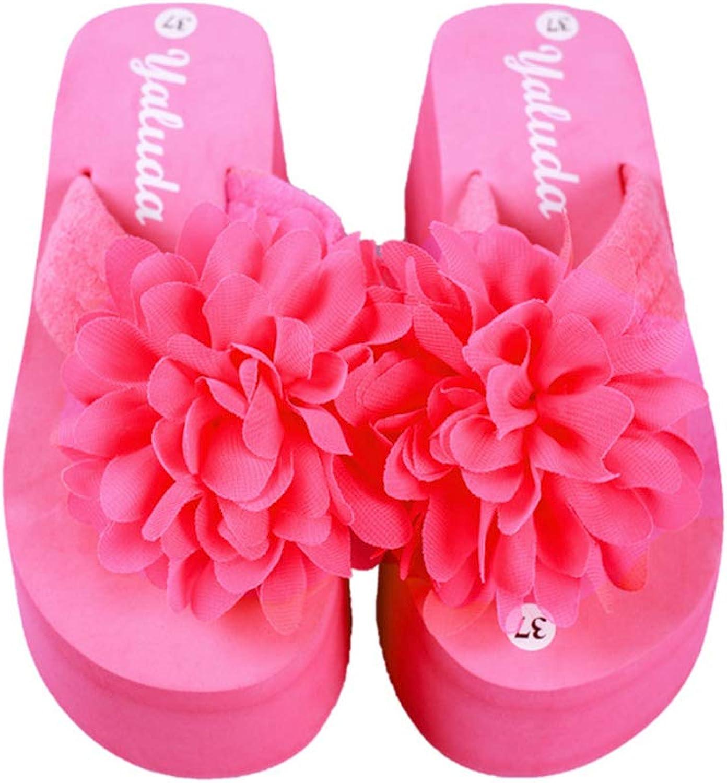 Btrada Women's Flower Thong Flip Flops Anti-Slip Wedges Summer Clip Toe Beach Sandals Casual Slippers