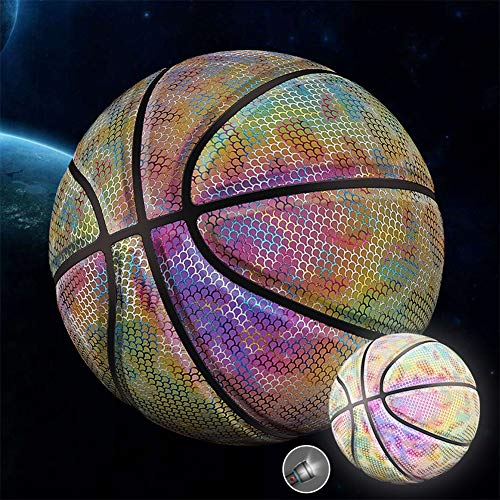 New DUTUI Size 7 Basketball, Holographic Reflective Luminous Fluorescent Basketball, Rainbow Starry ...