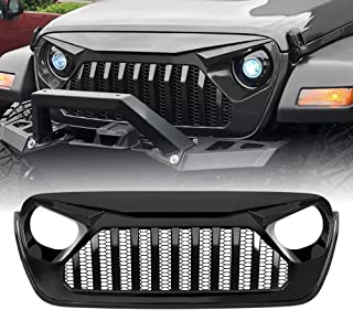 American 4wheel Glossy Black Gladiator Vader Grill for Jeep Wrangler 2018-2019 JL JLU & Unlimited Rubicon Sahara Sports, ABS