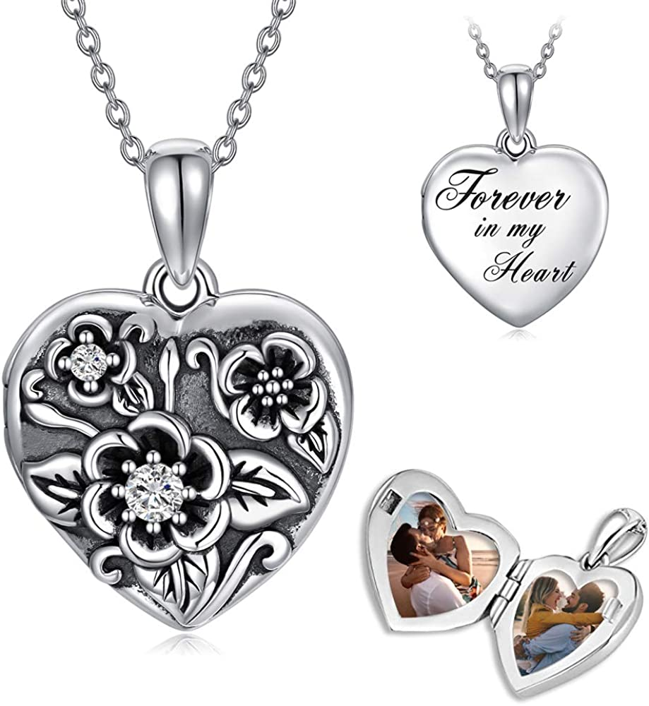 Sterling Silver Flower Locket Mail order cheap Heart Chicago Mall In Always Engraved Necklace