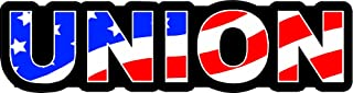 "3 - Union US Flag Hard Hat/Helmet Stickers 1"" x 2"" H156"